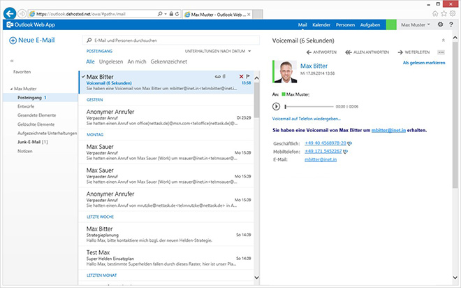 Hosted Lync - Voicemail Outlook Posteingang